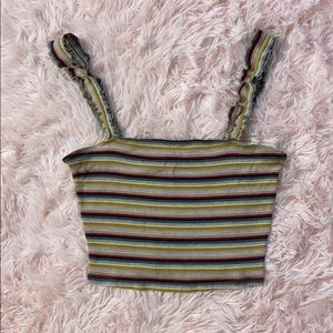 Striped crop top with ruffled straps